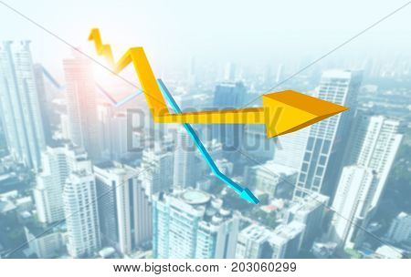 Rising graph and decreasing graph with city background, successful business