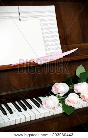 Piano, bouquet of pale pink roses on keyboard, music paper and  white blank with pink quill pen.