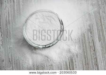 Glass Bowl Of Baking Soda. Spoonful Of Bicarbonate. Baking Soda, Sodium Bicarbonate, Nahco3.