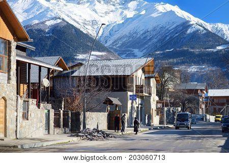 Mestia, Georgia - November 21, 2016: Narrow Medieval Streets Of Mestia Village On Chilly Sunny Day I
