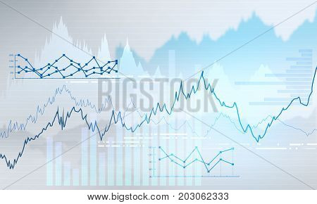 Abstract business chart with uptrend line graph bar chart and diagram in bull market on light grey background with blue spot.