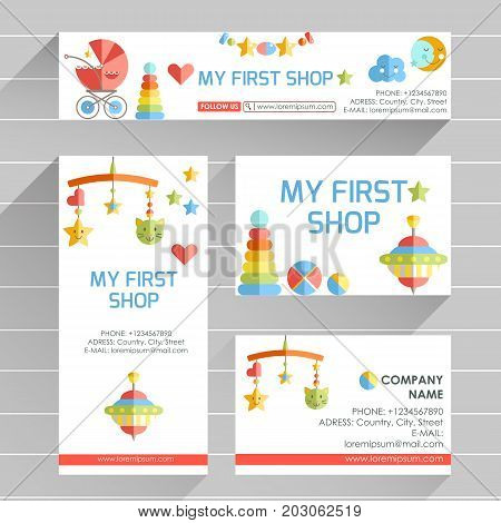Vector ready design template for early development club, child Center or newborn shop. Site header, business card, brochure and flyer. Bright fresh design with toys, hearts and stars