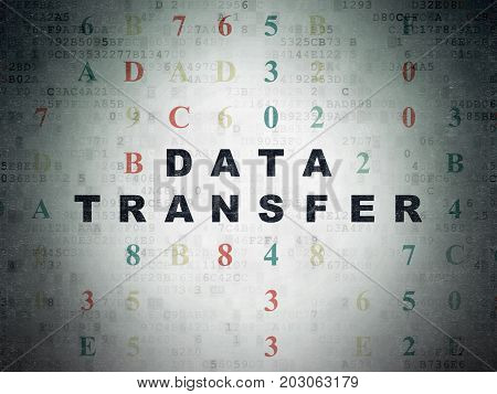 Data concept: Painted black text Data Transfer on Digital Data Paper background with Hexadecimal Code
