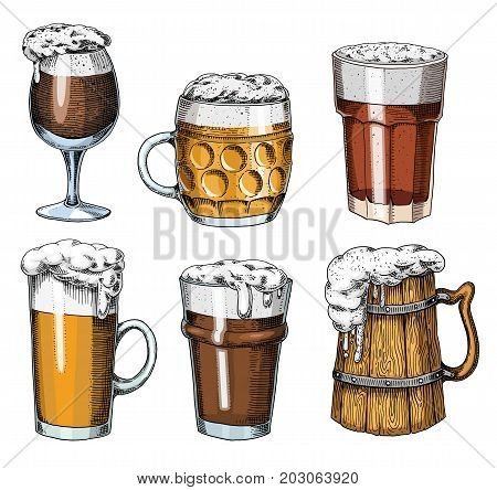 Beer glass, mug or bottle of oktoberfest. engraved in ink hand drawn in old sketch and vintage style for web, invitation to party or pub menu. design element isolated on white background
