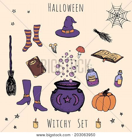 Colorful set of hand drawn vector halloween elements. Includes outline of potions vials herbs books mushroomscauldron with bubbles pumpkin witches hat broom stockings and shoes.