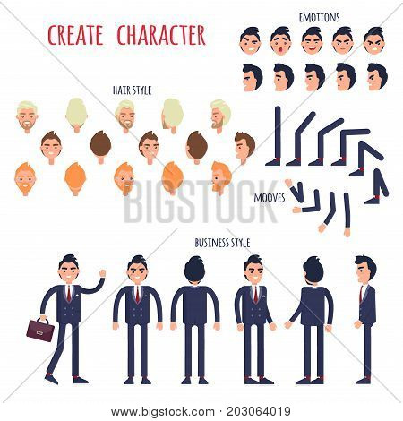 Businessman character generator with various emotions, hairstyles and limb movements. Man cartoon character in business suit standing in different poses and angles isolated flat vector illustrations