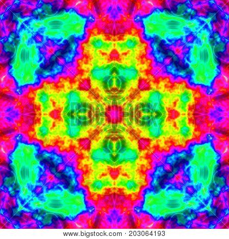 Crazy bright colored oriental vivid mandala square