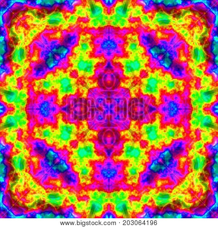 Colorful motley symmetrical decorative tile square image