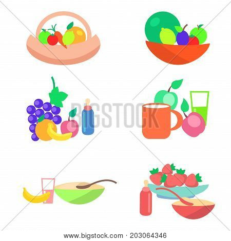 Little baby nutrition components set.  Porridge in bowl, ripe fruits and vegetables, milk and juices flat vector isolated on white. Natural childrens food illustration for kids healthy ration concept