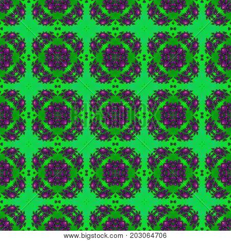 Vivid repeating ornate bright green and fuchsia pink decorative design