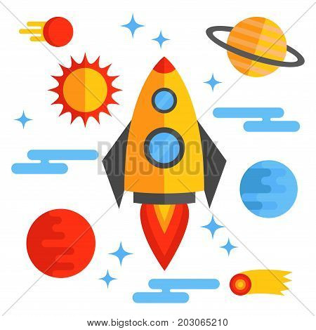Outer space colorful flat vector icons planets sun rocket set