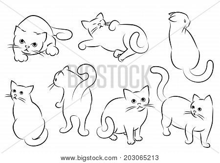 Set Of Cats Drawings In Different Moods. Vector Illustration.