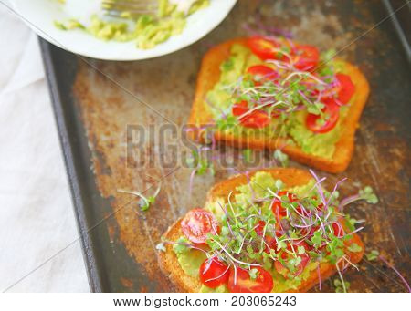 Overhead view of avocado toast with cherry tomatoes and sprouts on an old baking tray with room for text