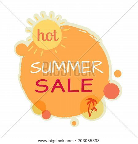 Hot summer sale round banner. Best quality and price. Sale tag with label. Collection of sale elements. Special offer, discount price poster. Universal discount poster. Leader of sale. Vector
