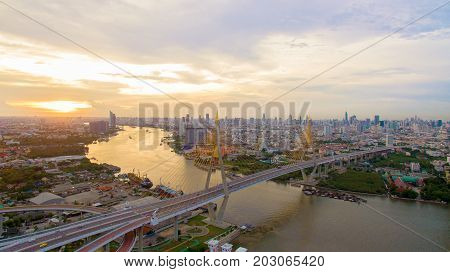 aerial view of bhumibol bridge crossing chaopraya river in bangkok