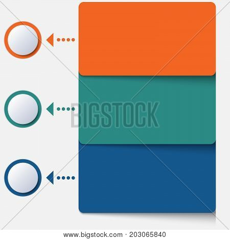 Template infographic color strips for 3 positions