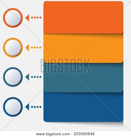 Template infographic color strips for 4 positions