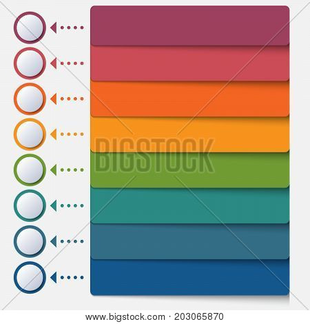 Template infographic color strips for 8 positions
