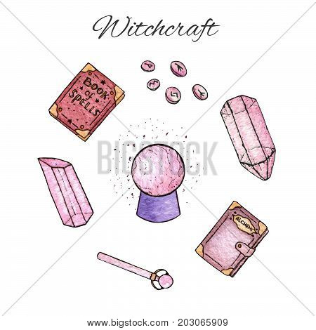 Set of watercolor and ink hand painted witchcraft items: pink gems and crystals runes books of spells and alchemy magical orb and magic wand isolated on the white background.