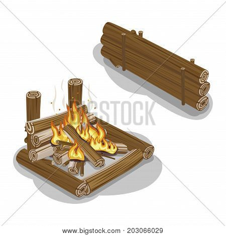 Bonfire from logs with flame isolated on white. Fireplace warm concept for preparing food or getting warm in flat design. Wood piles nearby. Vector illustration of isolated firewood with burning flame