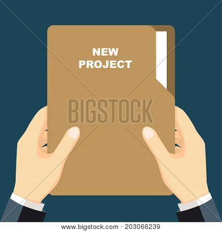 Hand holding Folder Folder documents in the hands of a businessman. Document in hand. Vector illustration flat design style.
