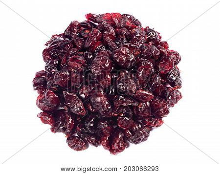 Pile of dried cranberries on a white background