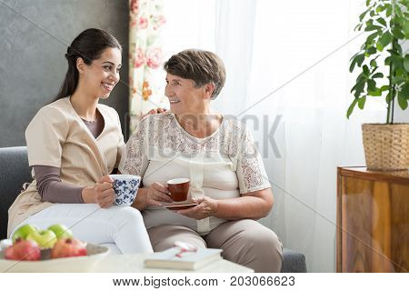 Senior Lady Serving Tea