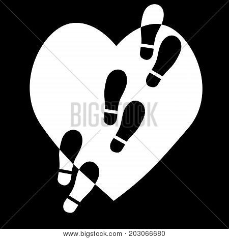 Traces of feet on the heart.Graphic image of psychological trauma and unhappy love concept.