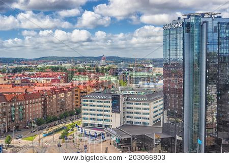 Goteborg Sweden - July 2017: Gothia Towers an early morning Gothia Towers is Scandinavia's largest hotel located in Gothenburg.