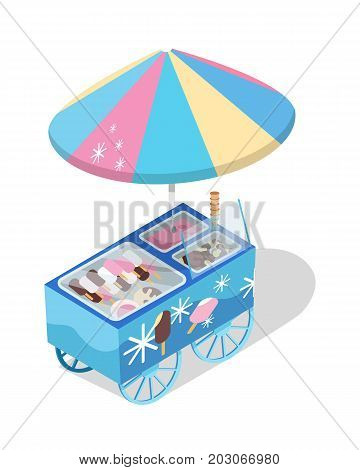 Ice cream cart store. Colored freezer on wheels with umbrella and eskimo on sticks isometric vector illustration isolated on white background. For cafe ad, apps icons, game environment design