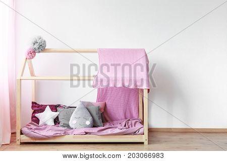 Pink Blanket On Girls Bed