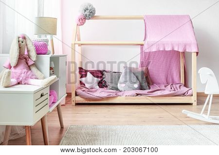 Pink Bedroom With Diy Bed