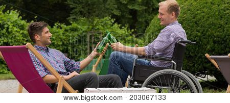 Meeting with disabled friend on a wheelchair