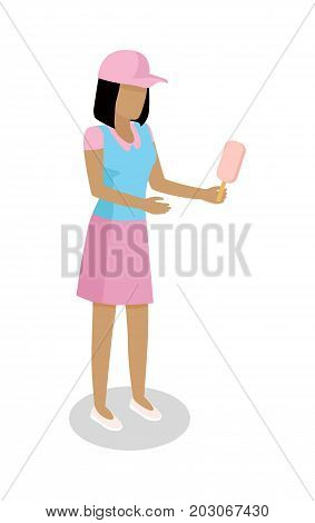 Brunette woman in casual clothing with ice-cream in hand isometric projection vector isolated on white. Faceless female figure in pink cap and short dress standing with fruity popsicle 3d illustration