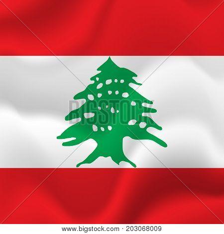 Lebanon waving flag. Waving flag. Vector illustration.