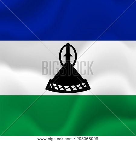 Lesotho waving flag. Waving flag. Vector illustration.
