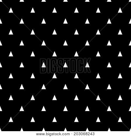 Seamless pattern with small white triangles on a black background. Basic geometric background.