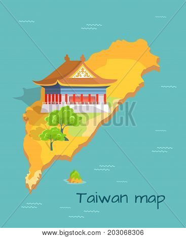 Cartoon Taiwan map with traditional Asian house and green trees with sign. Chinese island in Pacific Ocean vector illustration. China landscape on small part of world map. Trip to Oriental country.