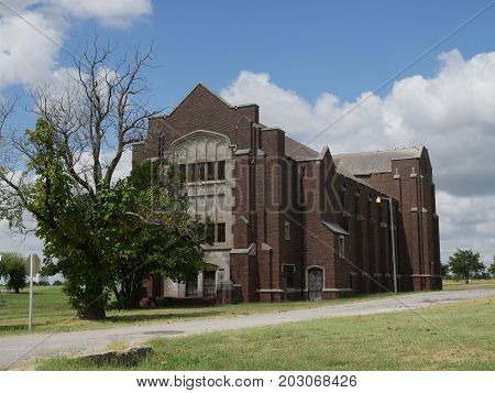 NORMAN, OKLAHOMA-- SEPTEMBER 2015: One of the buildings at the abandoned psychiatric Griffin Memorial Hospital where 38 patients were burned to death in a fire in 1918.