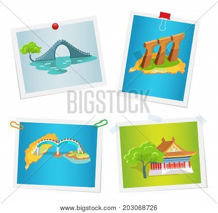 Taiwanese attractions on images attached to wall by paper clips, drawing pins and scotch tape. Vector colorful poster in flat design of Asian exotic bridges, columns set, traditional house with tree