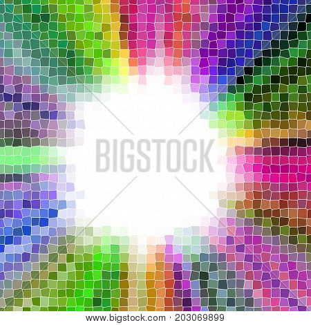 Colorful radial pixelize rays frame with central round copyspace background