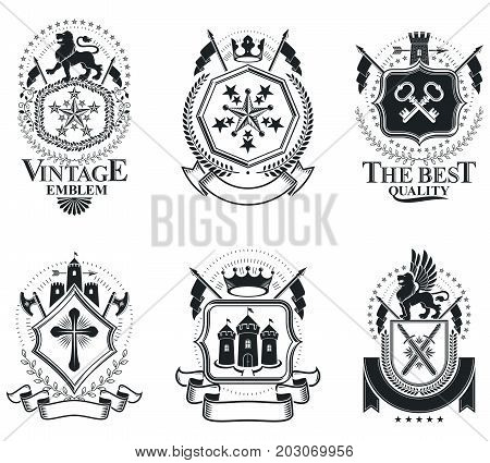 Luxury heraldic vectors emblem templates. Vector blazons. Classy high quality symbolic illustrations collection. poster