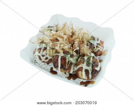 takoyaki octopus balls japanese food on white background