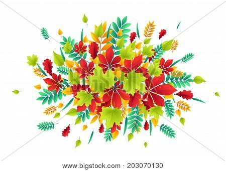 Vector illustration of fashionable autumn background with falling multicolor Autumn leaves oak, rowan, maple, birch, willow, chestnut, ash scattered in the middle like leaf fall in bright flat style