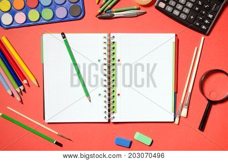 Blank Notepad With School And Office Stationery, Red Background