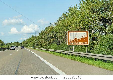 Burgruine Hohennagold, Sign, Autobahn, Germany