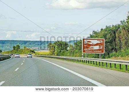 Naturpark Schoenbuch, Sign, Autobahn, Germany