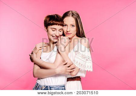 Happy Lesbian Couple Embracing