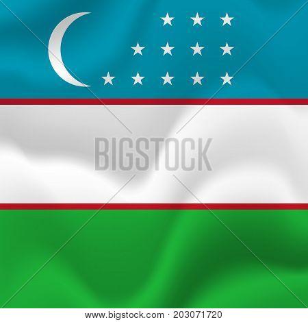 Uzbekistan waving flag. Waving flag. Vector illustration.