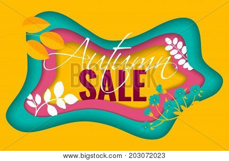 Fashionable Autumn Sale banner on the melted colorful background for advertising, posters, flyer, web. Cut paper art style vector illustration.